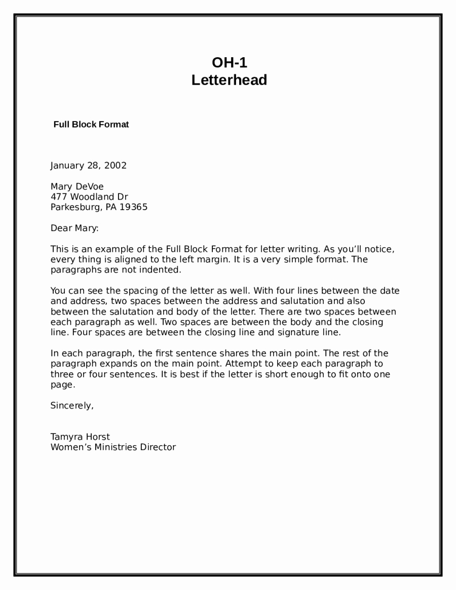 Example Of Simple Business Letter Awesome Block Letter format Sample Letter In Block format
