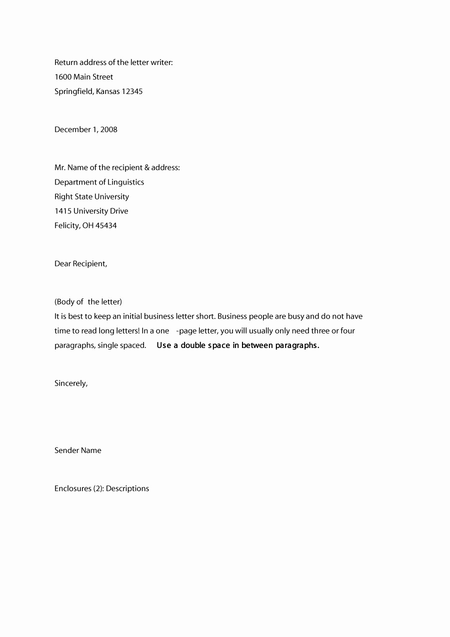 Example Of Simple Business Letter Lovely 35 formal Business Letter format Templates & Examples
