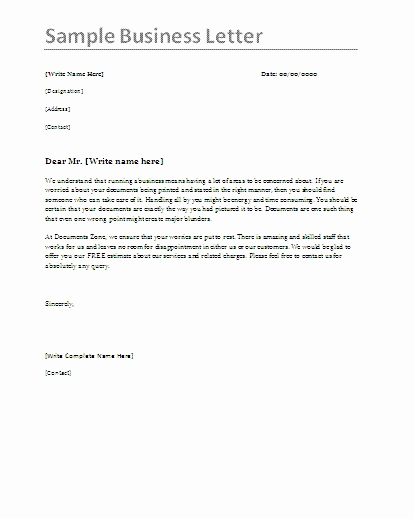 Example Of Simple Business Letter New Simple Business Letter Sample