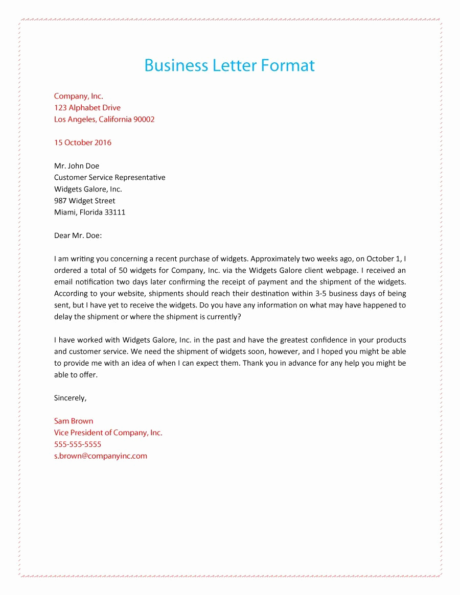 Example Of Simple Business Letter Unique 35 formal Business Letter format Templates & Examples