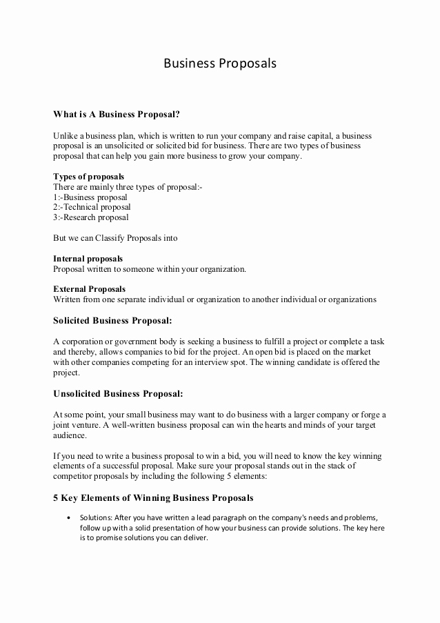 Examples Of Business Proposals Elegant Business Proposals