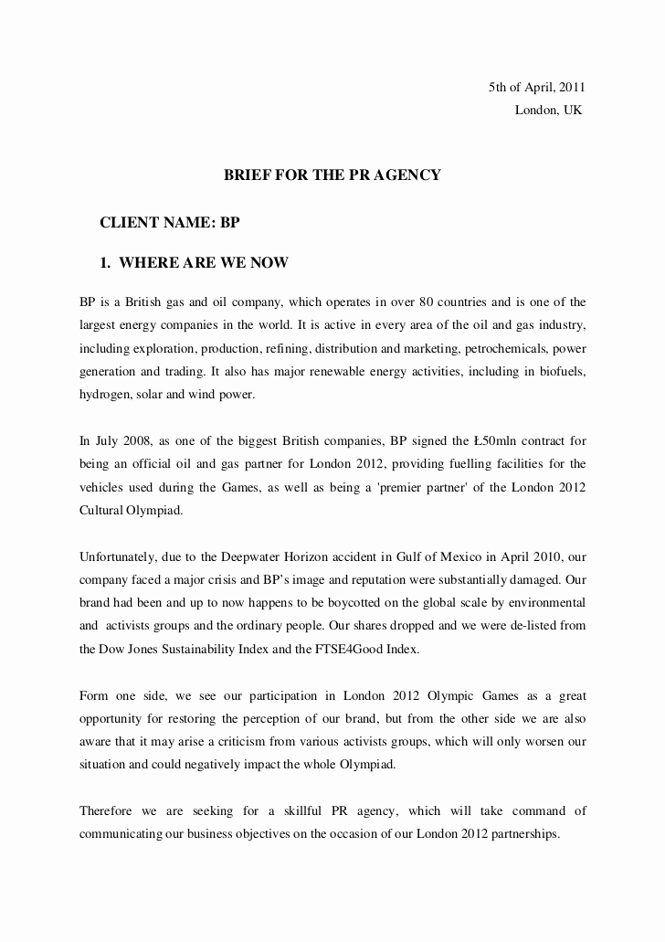 Examples Of Case Studies Best Of Pr Brief Bp Case Study