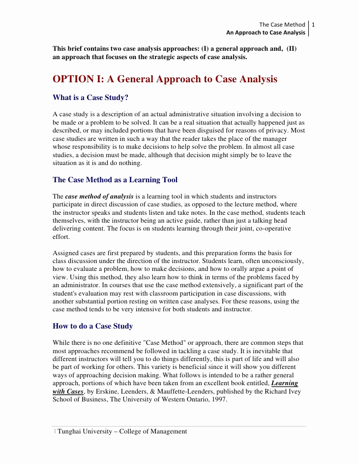 Examples Of Case Studies Lovely An Approach to Case Analysis