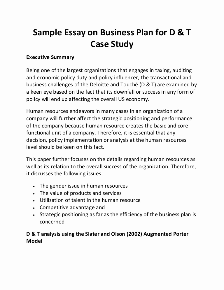 Examples Of Case Studies Lovely Sample Essay On Business Plan for D & T Case Study
