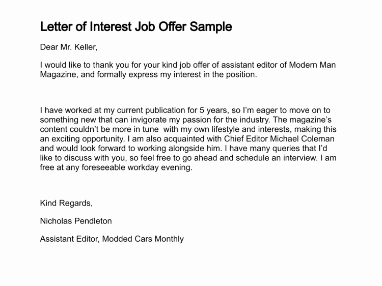 Examples Of Letters Of Interest Awesome Letter Of Job Interest