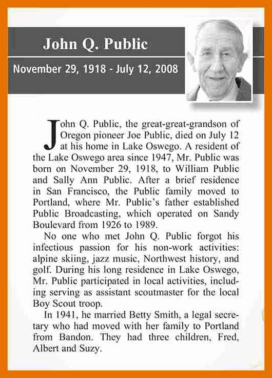 Examples Of Obituaries Well Written Beautiful 4 5 Obituary Examples