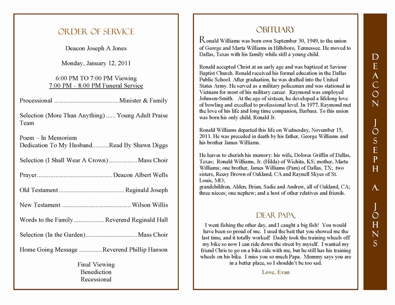 Examples Of Obituaries Well Written Best Of Obituary Program Sample Obituary Template