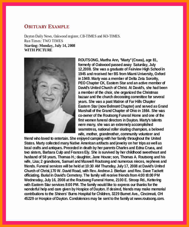 Examples Of Obituaries Well Written Elegant 12 Examples Of Obituarys