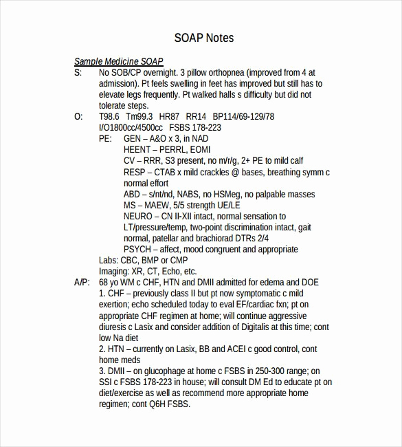 Examples Of soap Notes Best Of soap Note Template 9 Free Word Pdf format Download