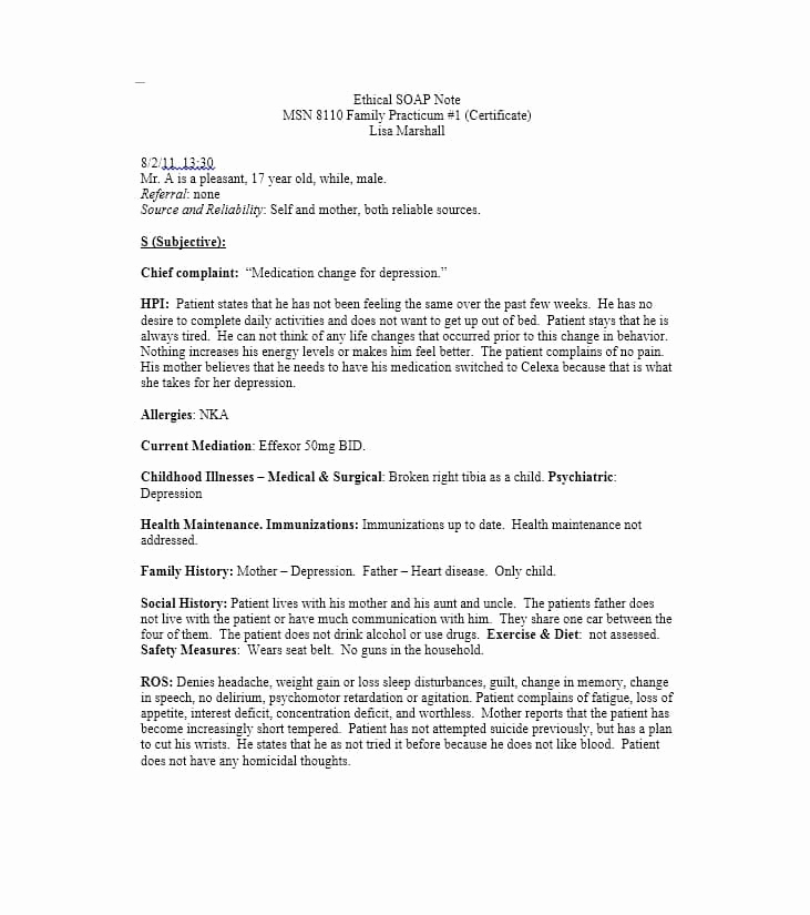 Examples Of soap Notes Fresh 40 Fantastic soap Note Examples & Templates Template Lab