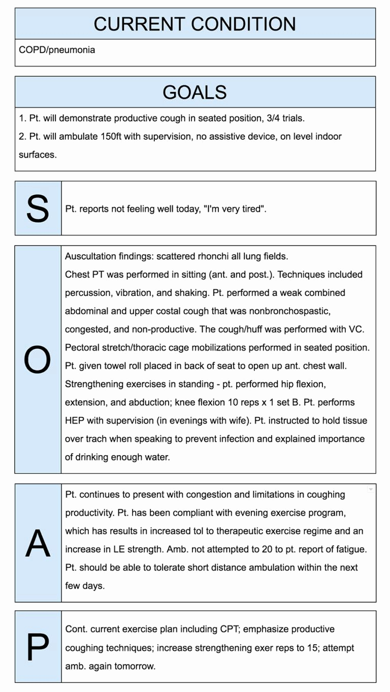 Examples Of soap Notes Fresh Physical therapist soap Notes Example Work Job