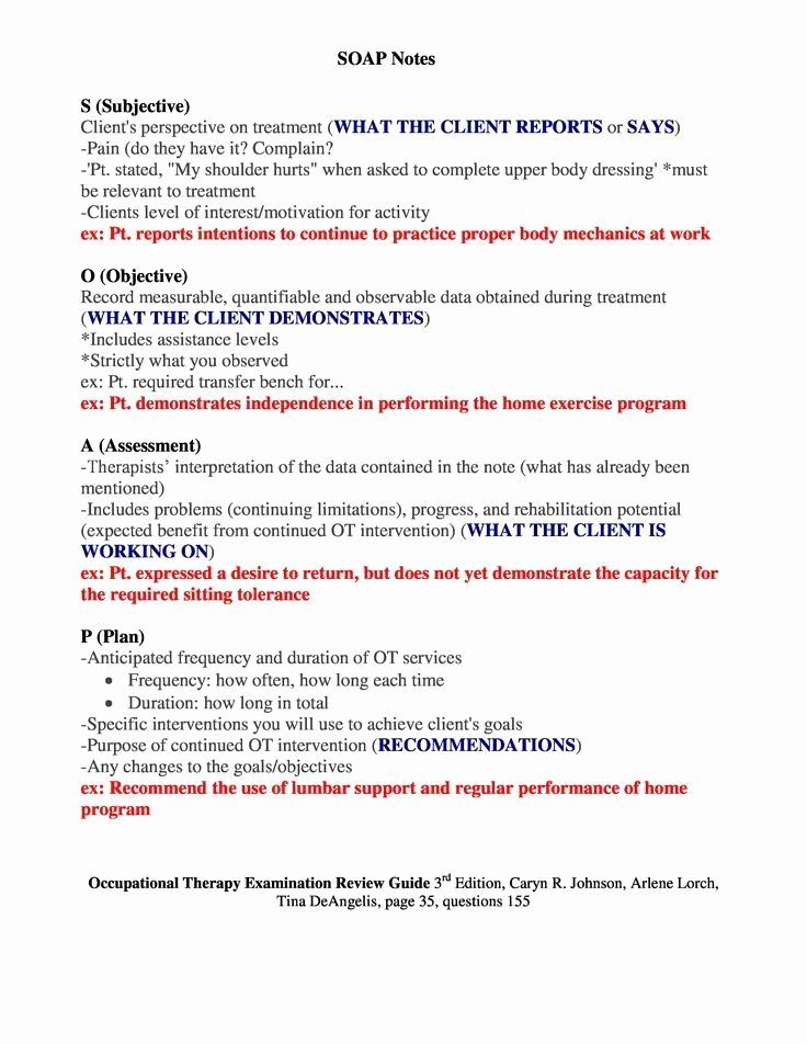 Examples Of soap Notes Lovely soap Notes Occupational therapy Examination Review Guide