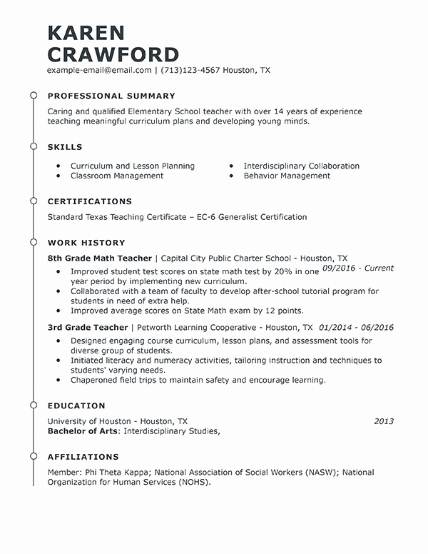 Examples Of Teacher Resumes Awesome Best Teacher Resume Example