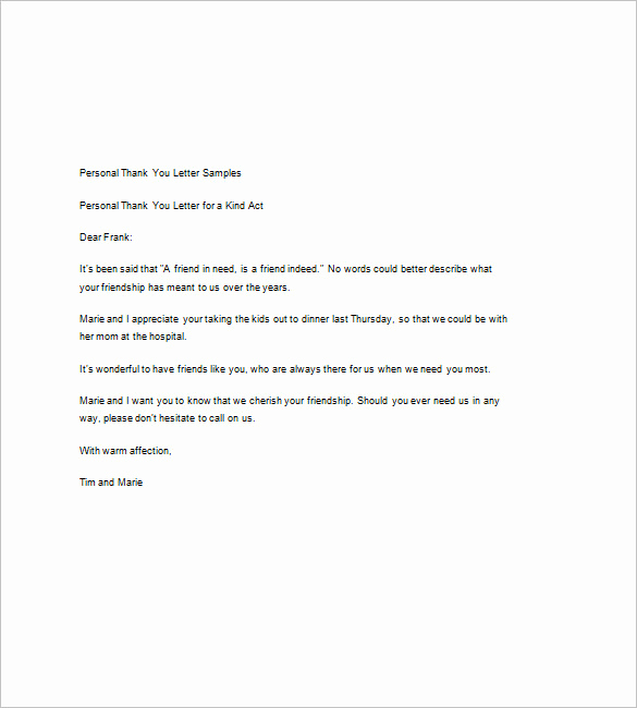 Examples Of Thank You Letters Fresh 9 Sample Thank You Notes – Free Sample Example format