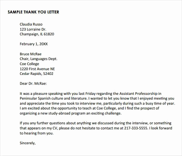 Examples Of Thank You Letters Inspirational Thank You Letter after Phone Interview 17 Free Sample