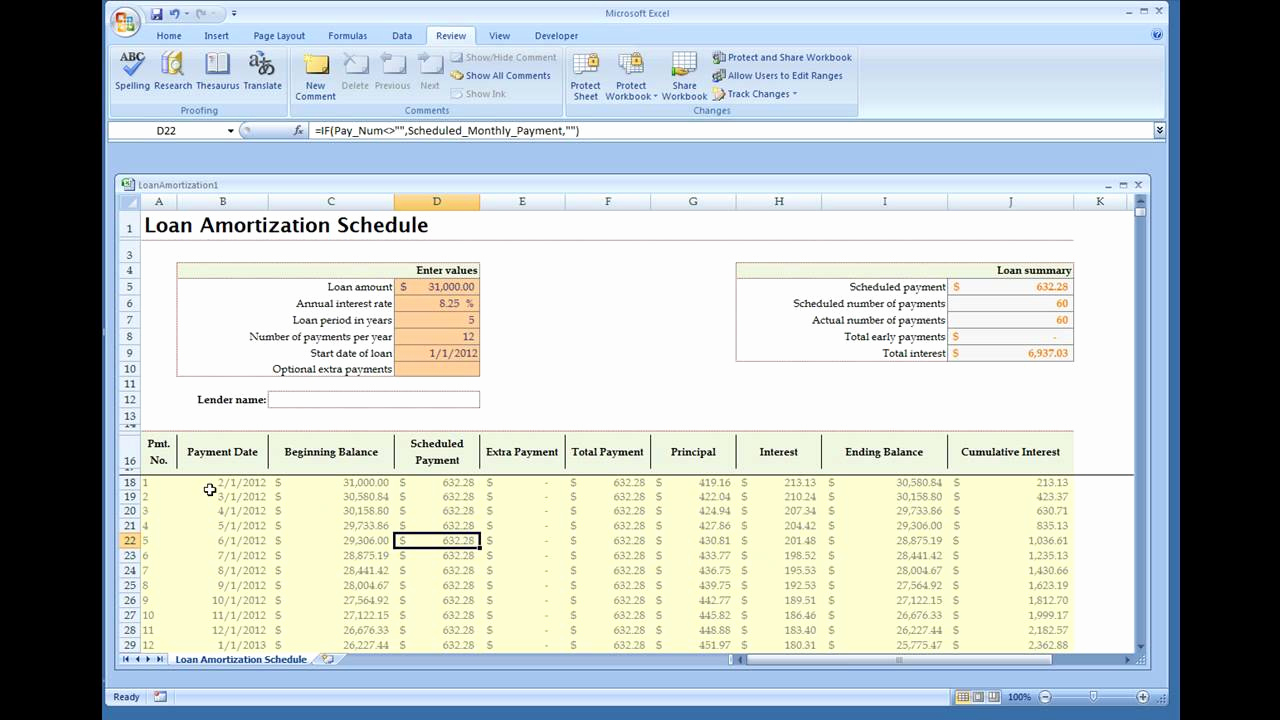 Excel Amortization Schedule Template New Loan Amortization Calculator Installed Excel Template