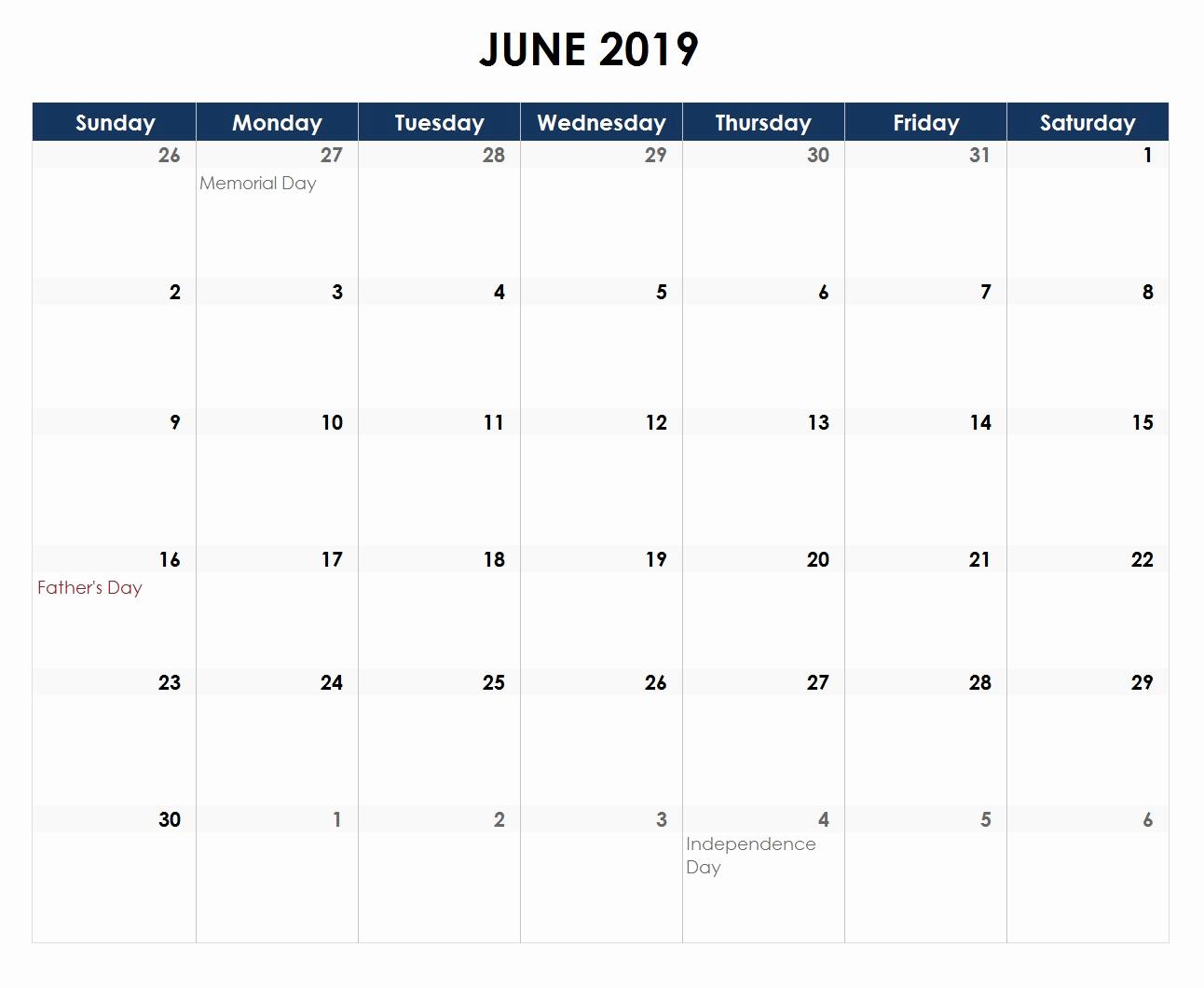 Excel Calendar 2019 Template Beautiful June 2019 Calendar Excel
