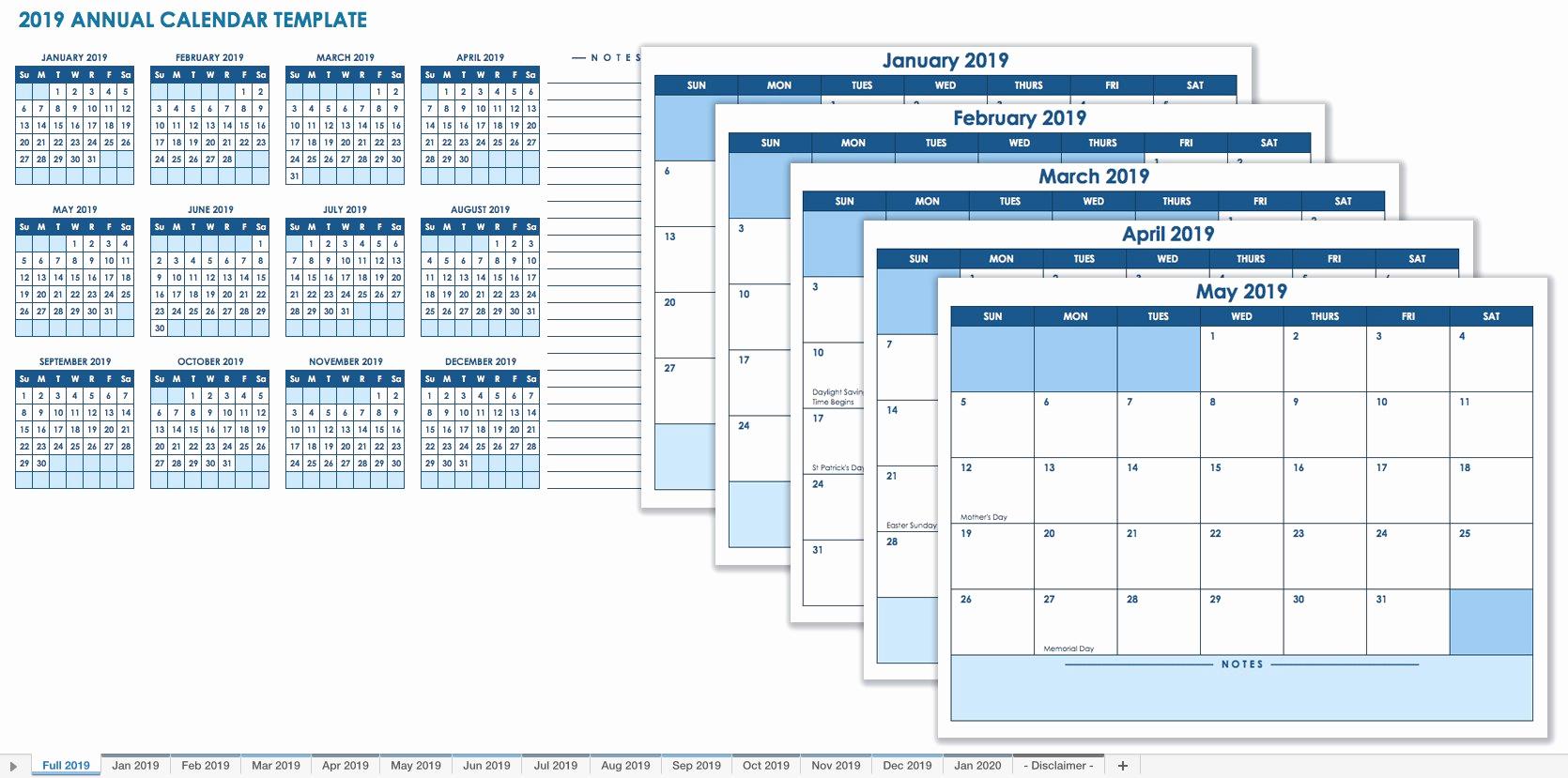 Excel Calendar 2019 Template Elegant 15 Free Monthly Calendar Templates