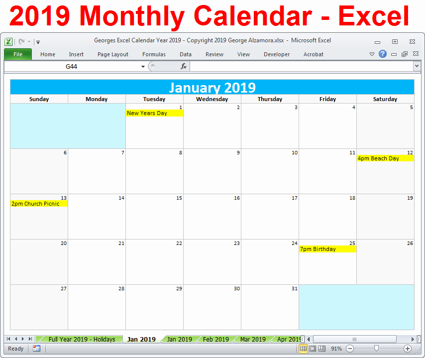 Excel Calendar 2019 Template Elegant 2019 Calendar Printable Yearly Monthly Editable Excel