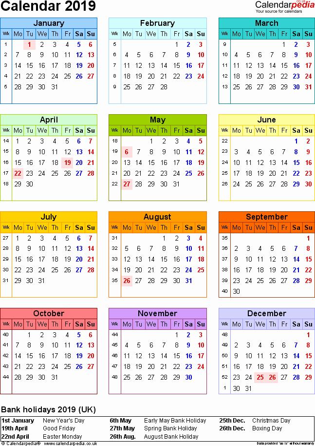 Excel Calendar 2019 Template Fresh Excel Calendar 2019 Uk 16 Printable Templates Xlsx Free