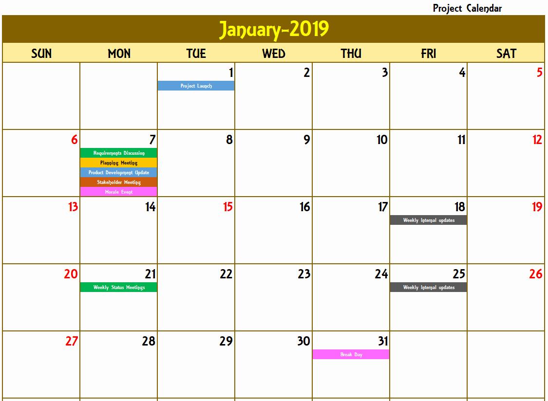 Excel Calendar 2019 Template Inspirational Excel Calendar Template Excel Calendar 2019 2020 or Any
