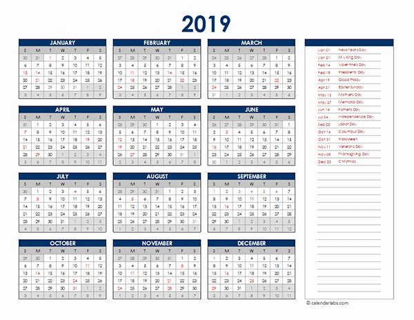 Excel Calendar 2019 Template Lovely 2019 Excel Yearly Calendar Free Printable Templates