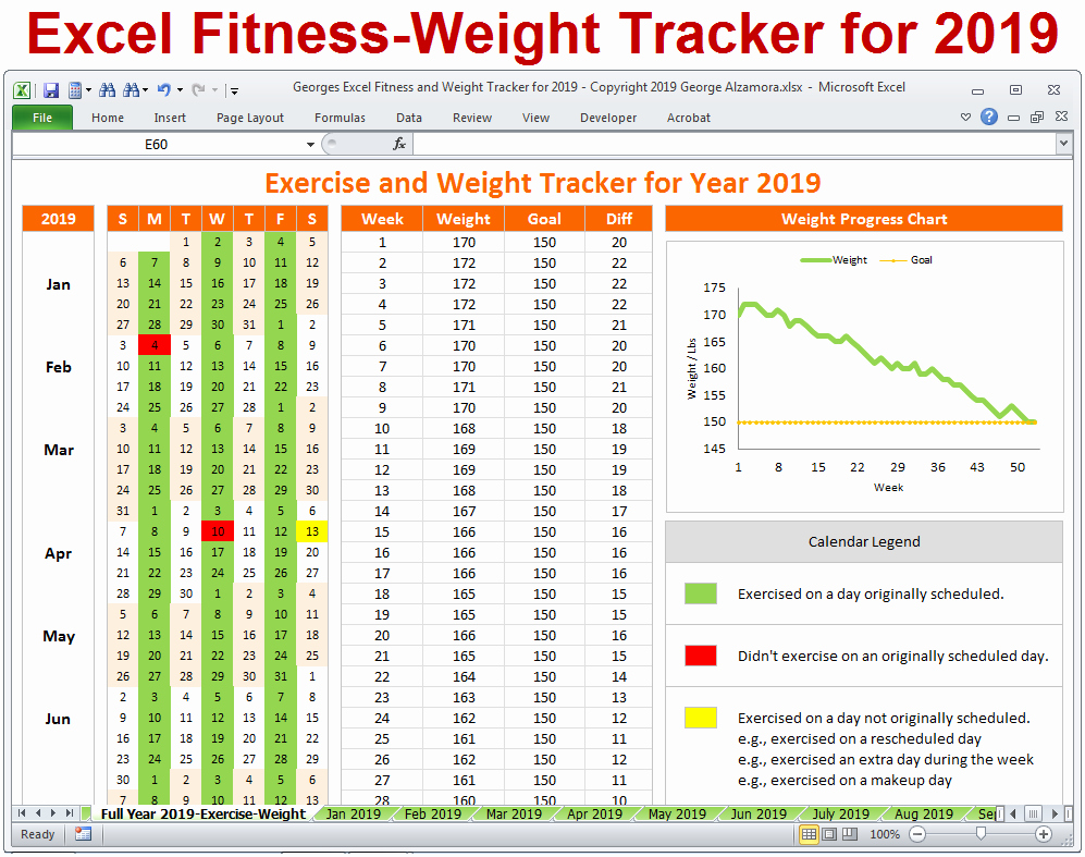 Excel Calendar 2019 Template Lovely Excel Fitness Weight Tracker for Year 2019 Spreadsheet
