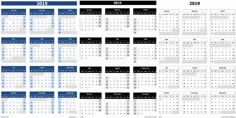 Excel Calendar 2019 Template Luxury 2019 Calendar Excel Templates Printable Pdfs &