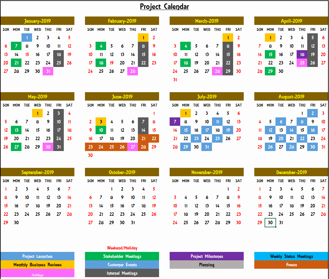 Excel Calendar 2019 Template Luxury Excel Calendar Template Excel Calendar 2019 2020 or Any