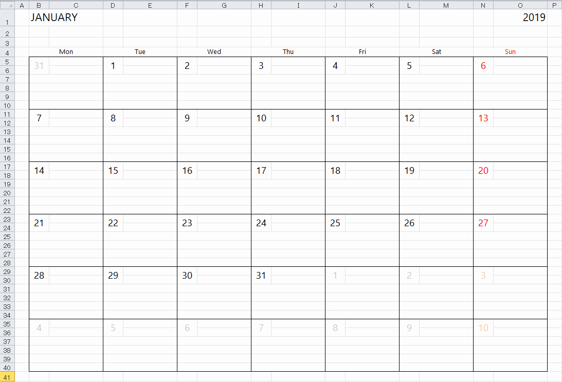 Excel Calendar 2019 Template New Simple Excel Calendar Template
