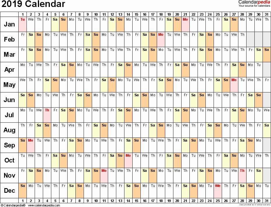 Excel Calendar 2019 Template Unique 2019 Calendar Download 17 Free Printable Excel Templates