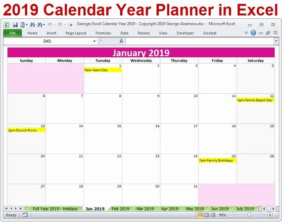 Excel Calendar 2019 Template Unique 2019 Calendar Year Printable Planner Excel Templates