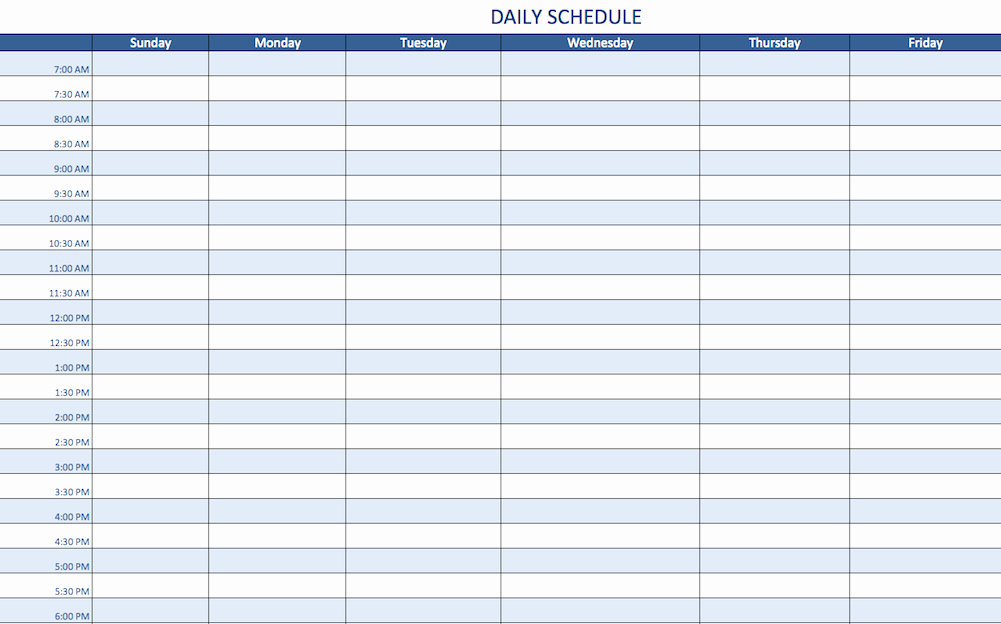 Excel Daily Schedule Template Awesome Free Excel Schedule Templates for Schedule Makers