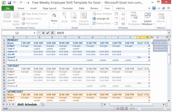 Excel Employee Schedule Template Fresh Free Weekly Employee Shift Template for Excel