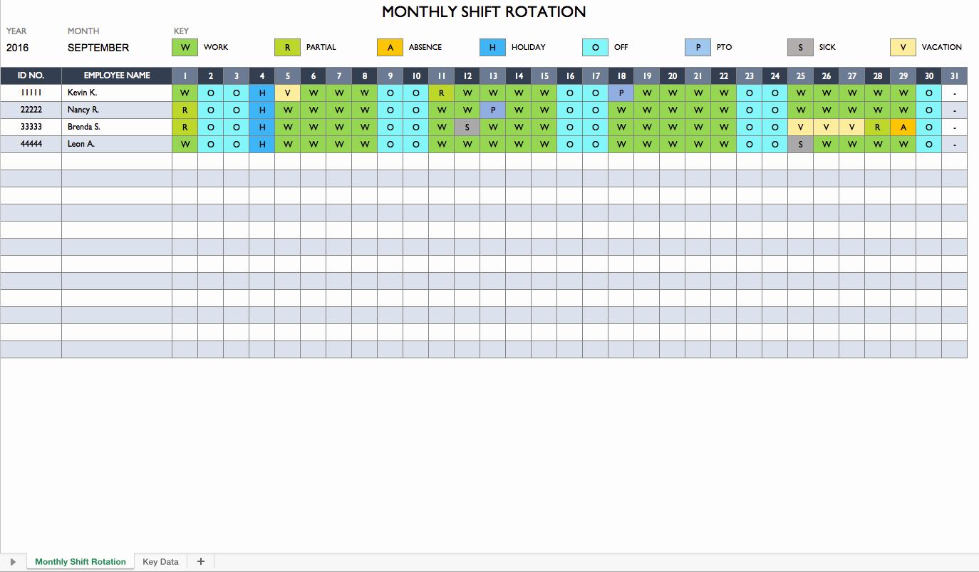 Excel Employee Schedule Template Fresh Rotating Schedule Maker