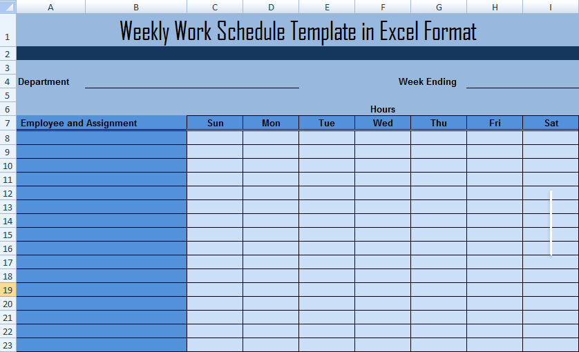 Excel Employee Schedule Template Fresh Weekly Work Schedule Template In Excel format