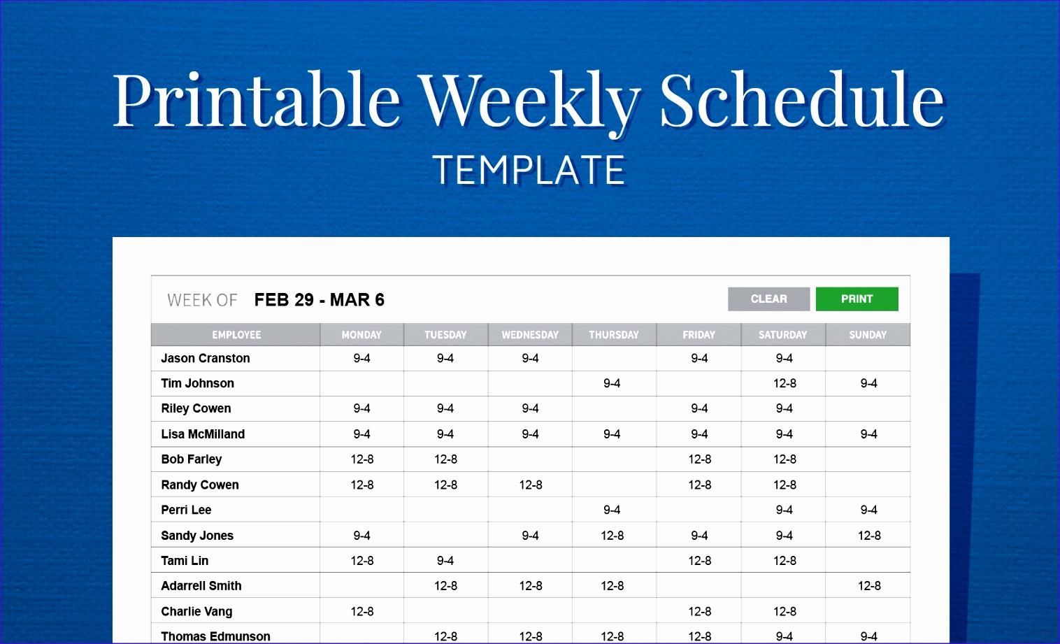 Excel Employee Schedule Template Inspirational 11 Employee Scheduling Excel Template Exceltemplates