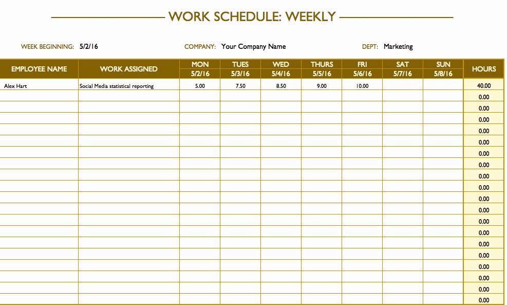 Excel Employee Schedule Template Inspirational Free Work Schedule Templates for Word and Excel