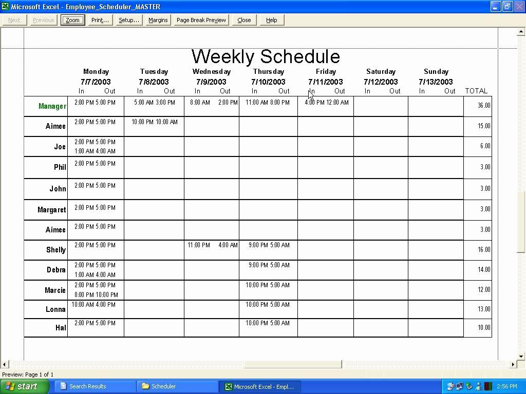 Excel Employee Schedule Template New Weekly Employee Schedule Template Excel