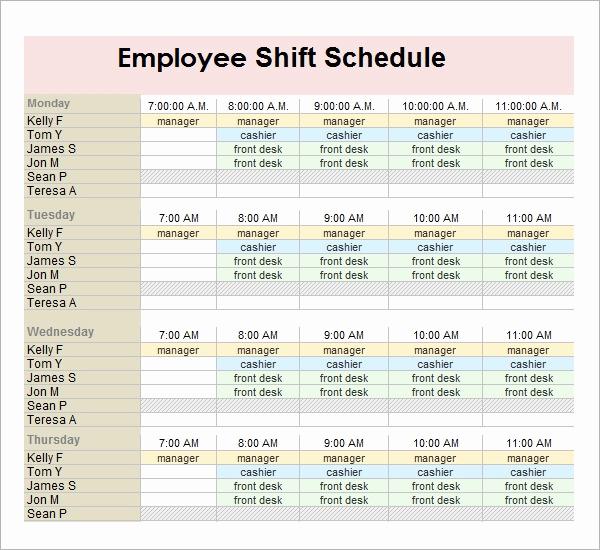 Excel Employee Schedule Template Unique Sample Employee Schedule 13 Documents In Pdf Word