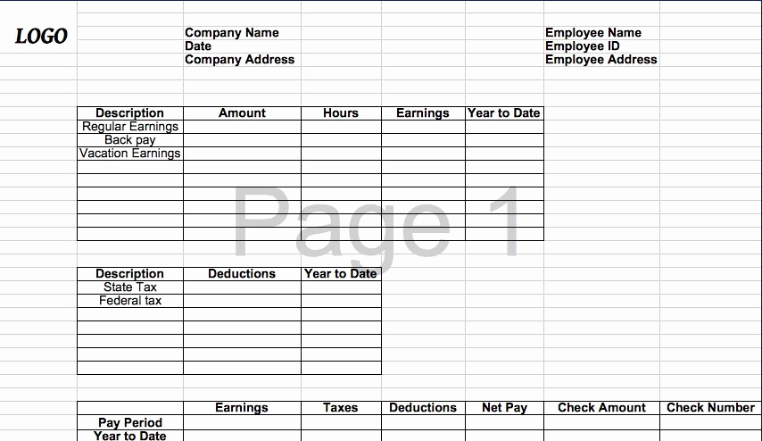Excel Pay Stub Template Beautiful 25 Great Pay Stub Paycheck Stub Templates