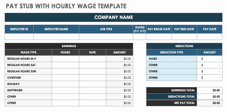 Excel Pay Stub Template Beautiful Free Pay Stub Templates