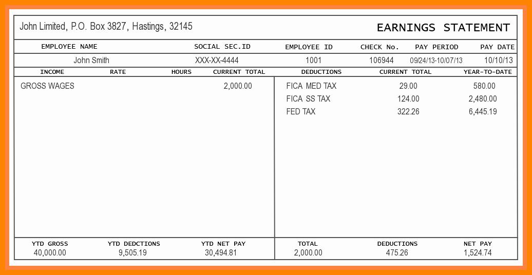 Excel Pay Stub Template Elegant 5 Free Paystub Template Excel