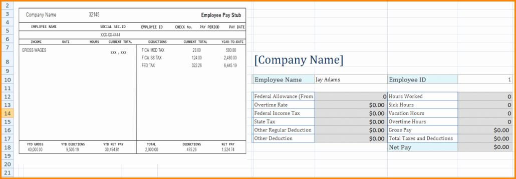 Excel Pay Stub Template New 6 Microsoft Excel Pay Stub Template