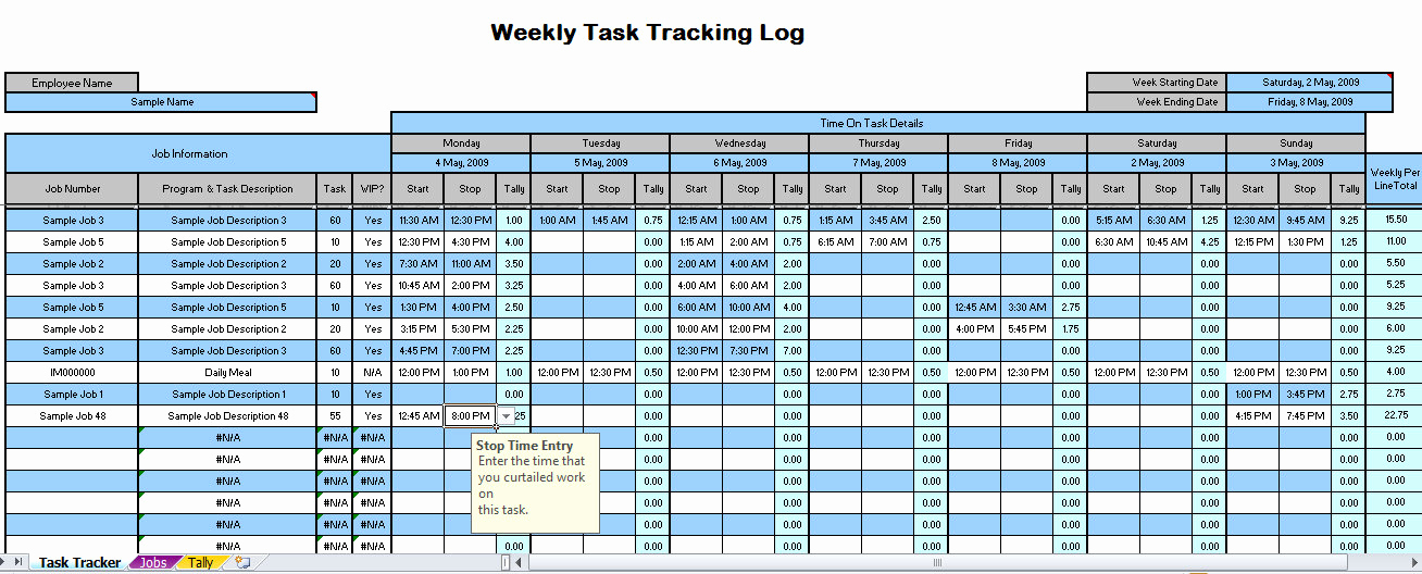 Excel Task Tracker Template Elegant Weekly Time Tracking Spreadsheet