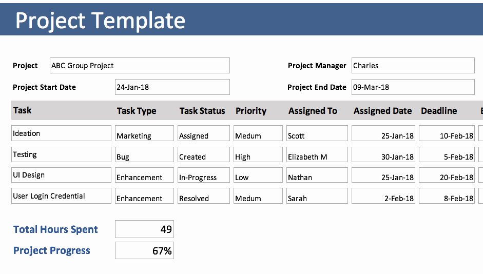Excel Task Tracker Template Fresh Project Tracking Template