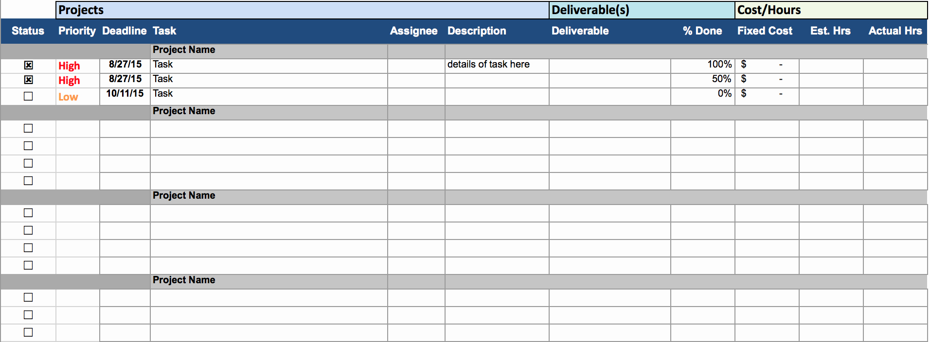Excel Task Tracker Template Inspirational Multiple Project Tracking Template Excel