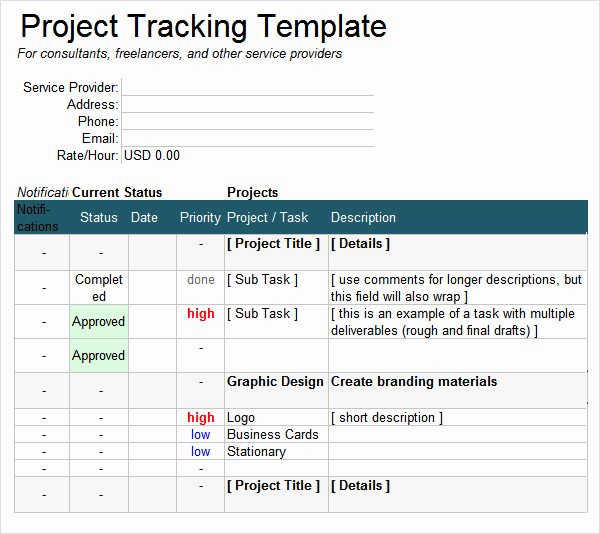 Excel Task Tracker Template Luxury Project Tracking Template 6 Free Download for Pdf Doc