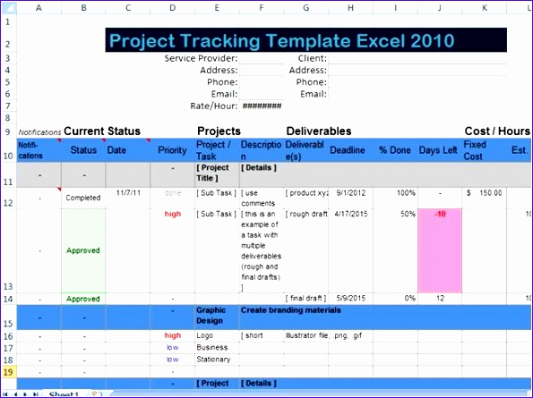Excel Task Tracker Template New 6 Project Deliverables Template Excel Exceltemplates