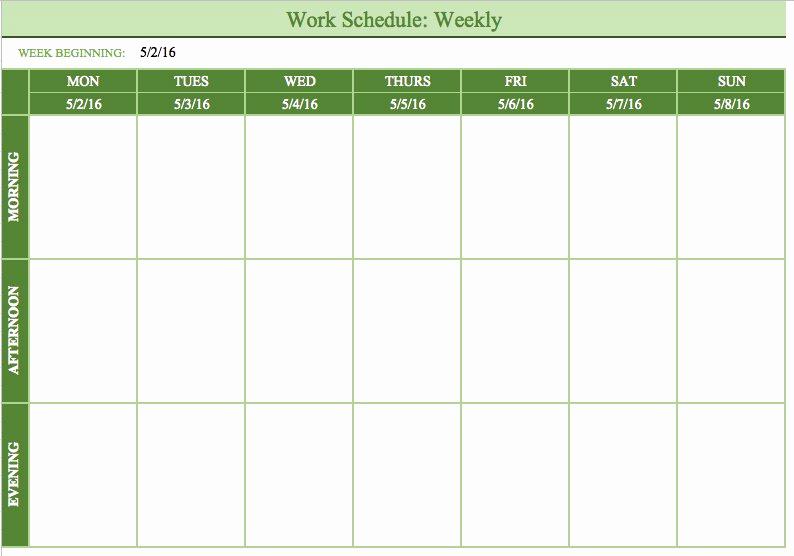 Excel Work Schedule Template Beautiful Free Work Schedule Templates for Word and Excel